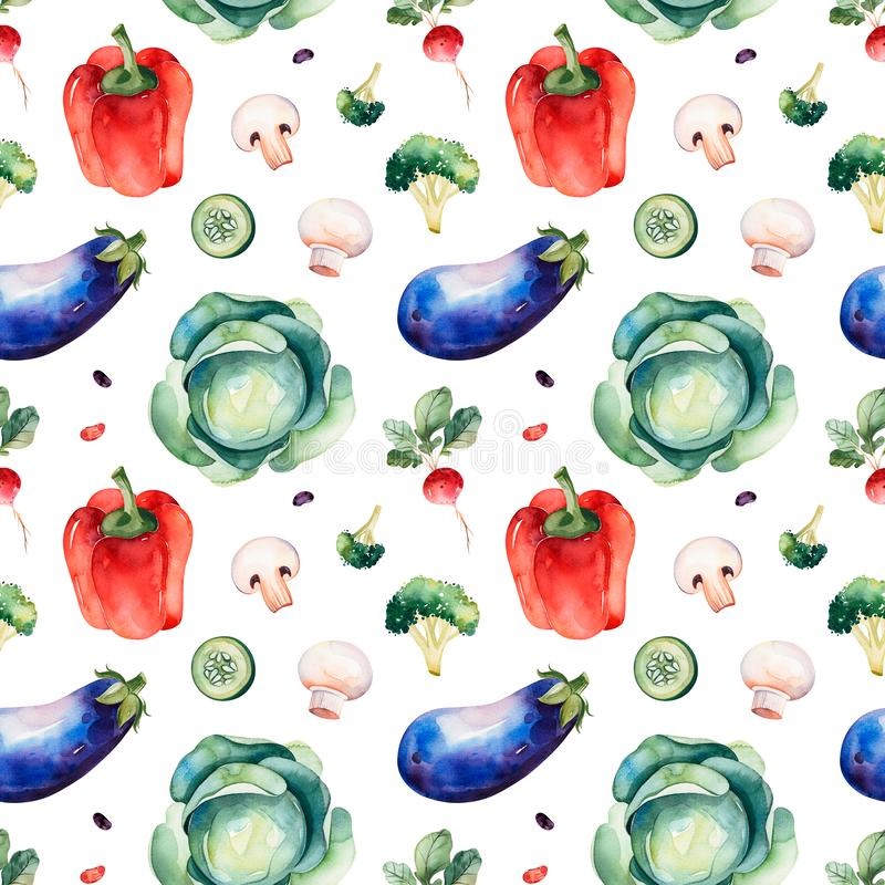 Naadloze textuur met kool, paddestoelen, Spaanse peper, aubergine, broccoli, radijs stock illustratie
