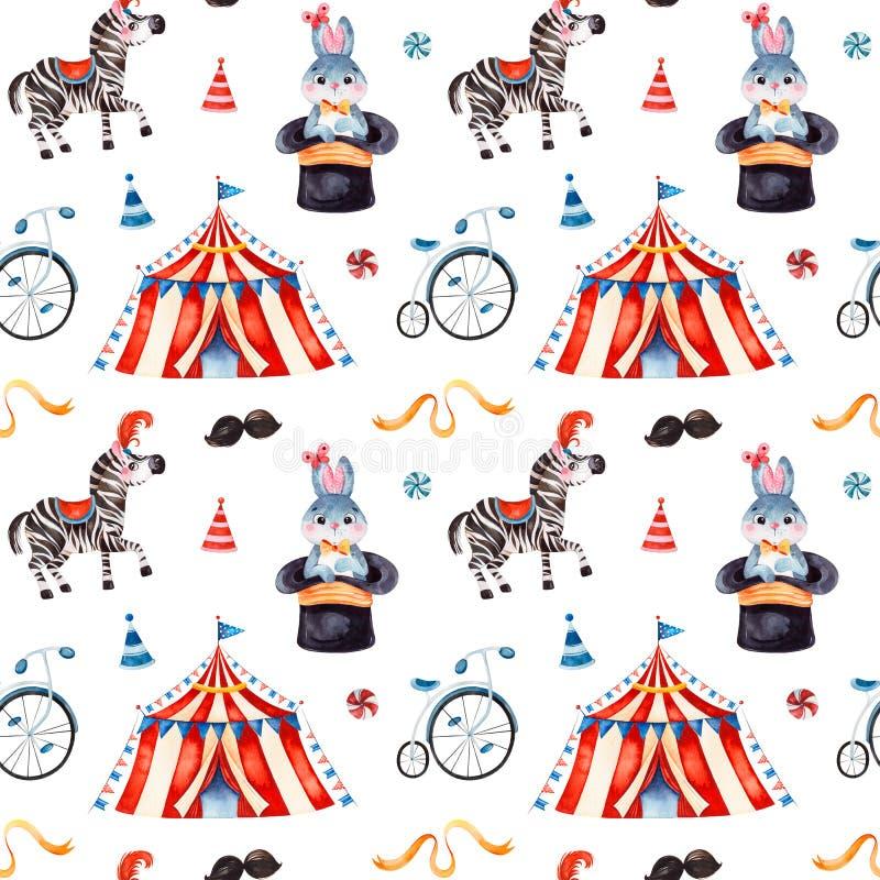 Naadloze Textuur met leuk weinig konijntje in een hoed, zebra, circustent, lint, fiets stock illustratie