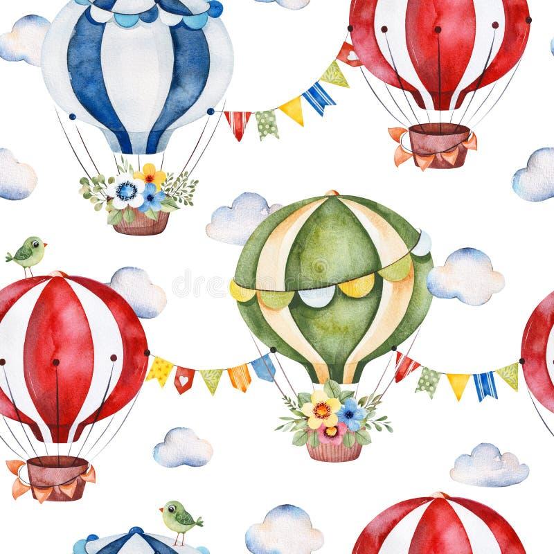 Naadloze Textuur met leuke luchtballons, boeketten, slingers, pluizige wolken en meer vector illustratie