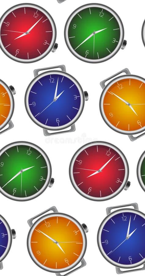 Naadloze textuur met multicolored realistische klok vector illustratie