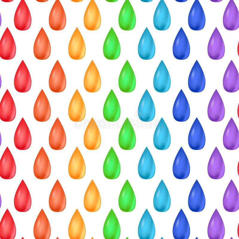 Naadloze textuur met regenboog realistische dalingen stock illustratie