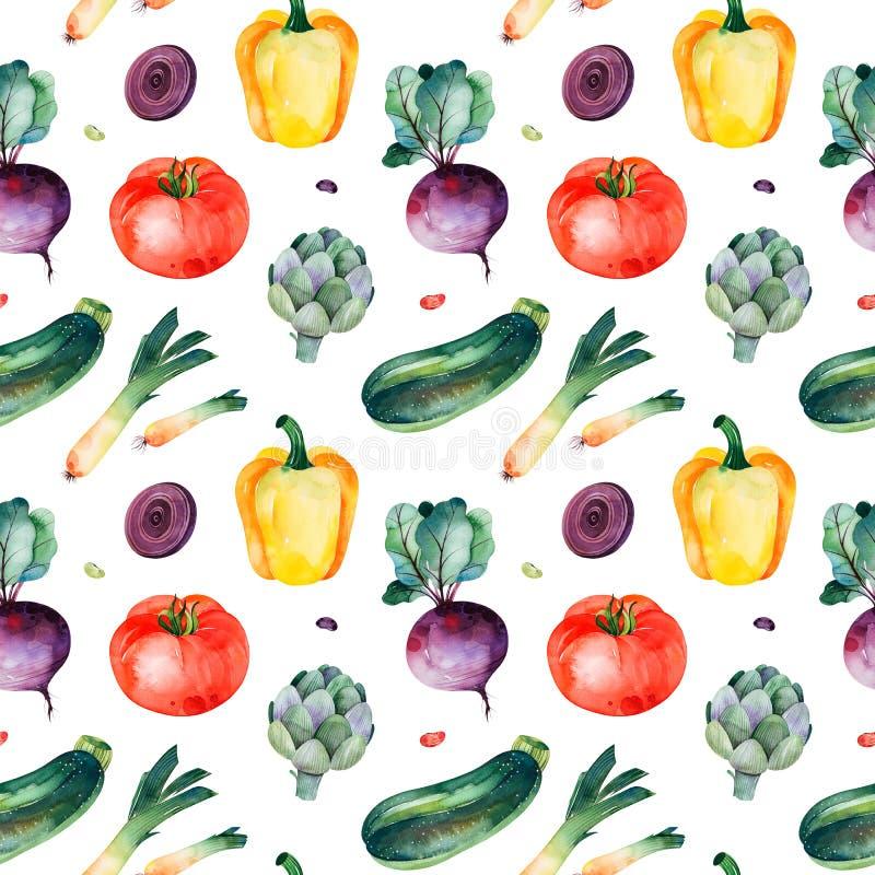 Naadloze textuur met tomaat, prei, gele peper, courgette, bieten, artisjok royalty-vrije illustratie