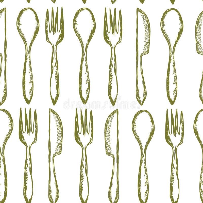 Naadloze textuur met Vork, Mes, Lepel in schetsstijl Het bestekpatroon van de handtekening Vector illustratie stock illustratie