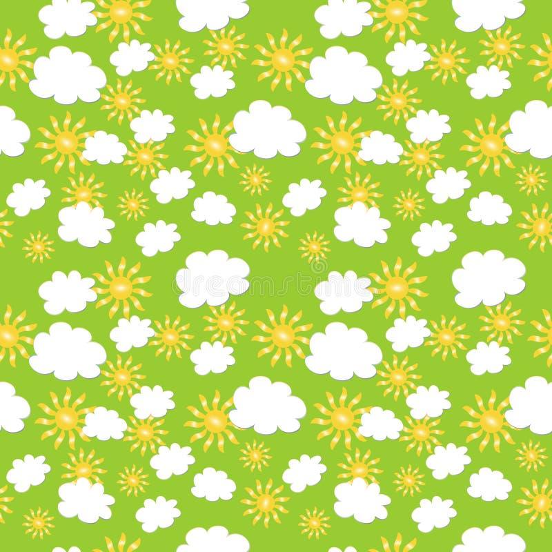 Naadloze textuur met wolken en zon royalty-vrije illustratie