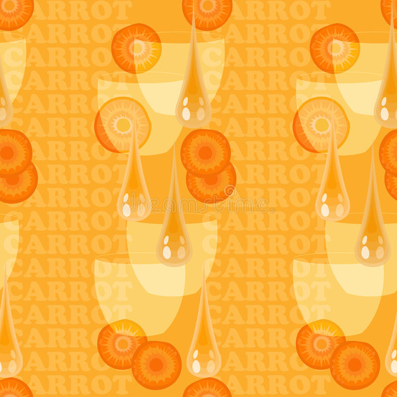 Naadloze textuur met wortel, glas, dalingssap en plakken stock illustratie