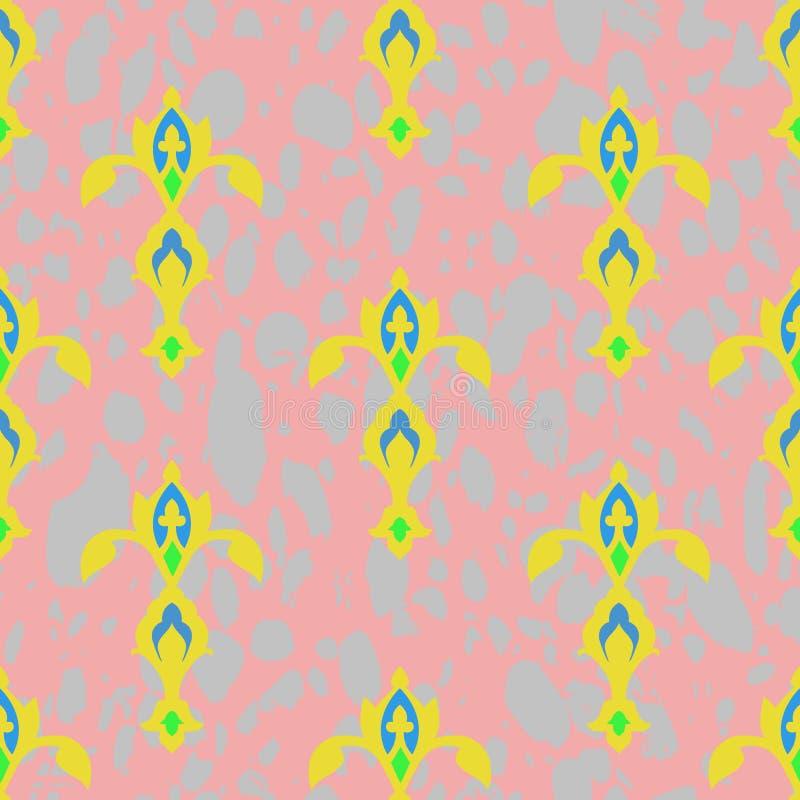 Naadloze textuur Ornament van geelgroene beelden op een roze - grijze achtergrond royalty-vrije illustratie