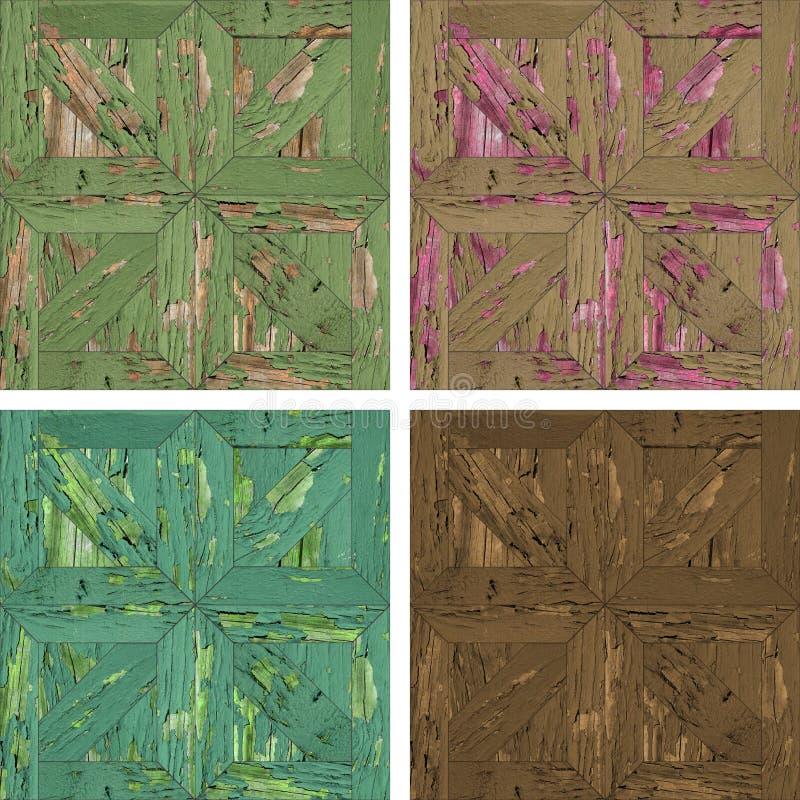 Naadloze textuur van grijze concrete wallAcollage van vier naadloze texturen van houten parket royalty-vrije stock afbeelding