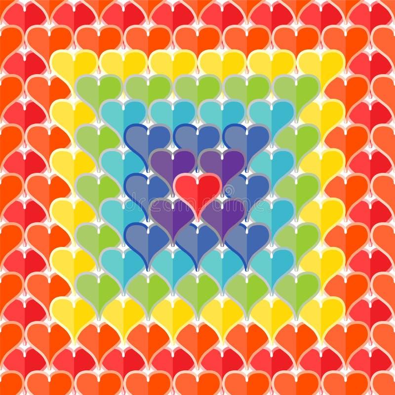Naadloze textuur van harten geschilderde regenboogkleuren royalty-vrije illustratie