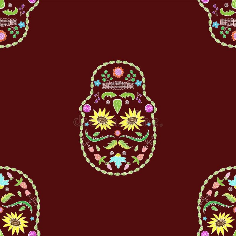 Naadloze textuur van het beeld van de schedelsbloem vector illustratie