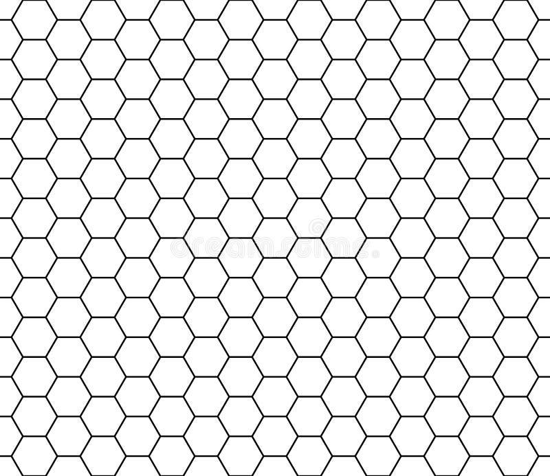 Naadloze textuur van het hexagon patroon Zwarte honingraatlijn herhaalbaar op witte achtergrond, lijn editable royalty-vrije illustratie
