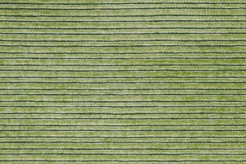 Naadloze textuur van horisontal gestripte groene polyesterstoffering stock foto's