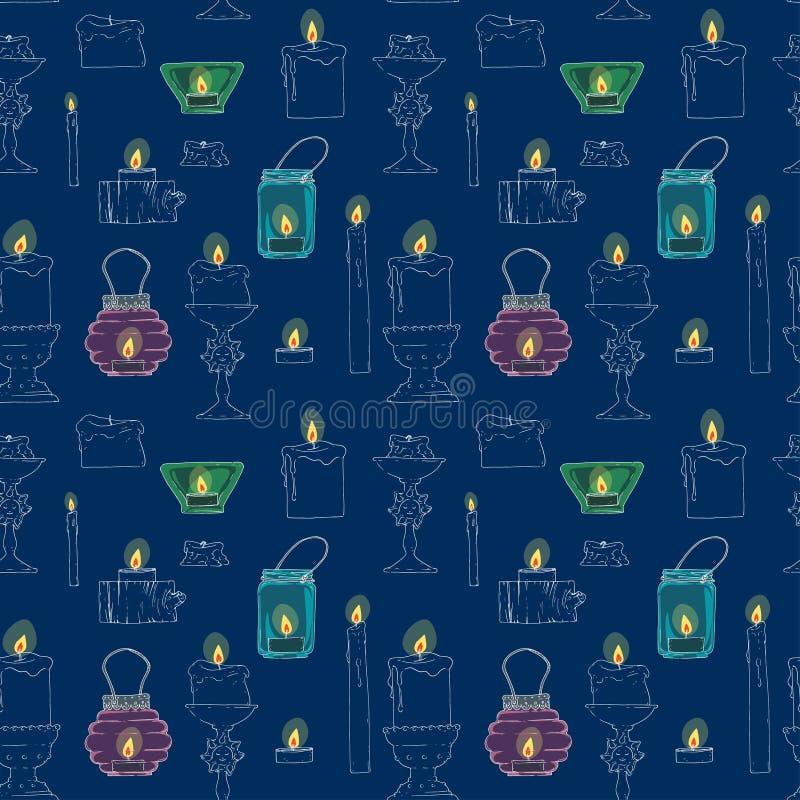 Naadloze textuur van kaarsen in de avond vector illustratie
