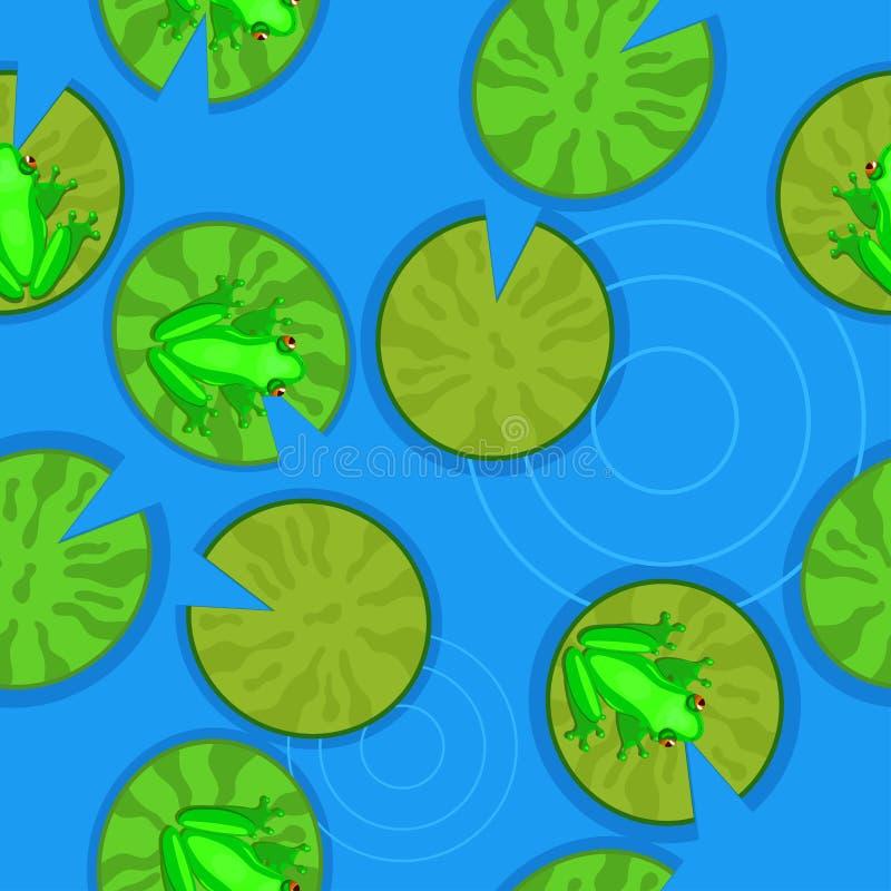 Naadloze textuur van kikkers op leliestootkussens op een vijver Vector illustratie stock illustratie