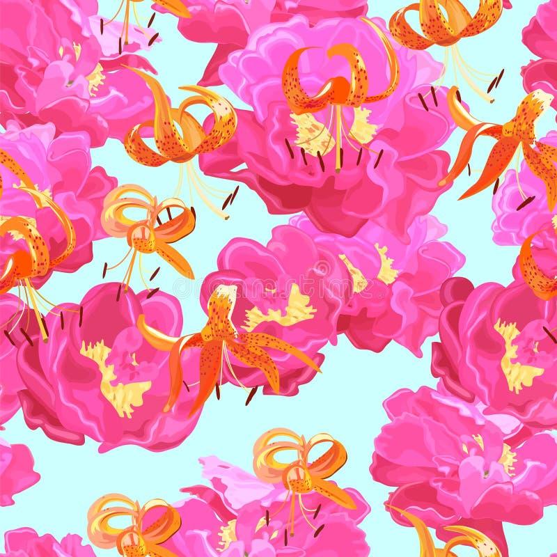 Naadloze textuur van pioenen en lelies royalty-vrije illustratie