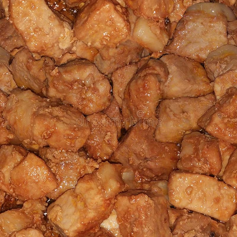 Naadloze textuur van sappig, geroosterd vlees stock fotografie