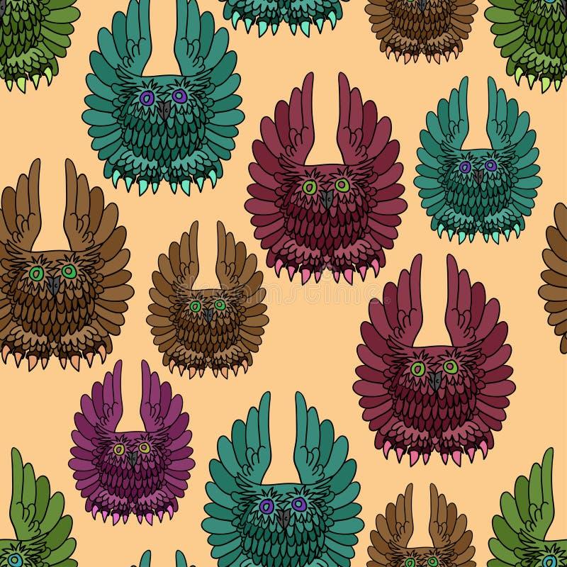 Naadloze textuur van uilen. stock illustratie