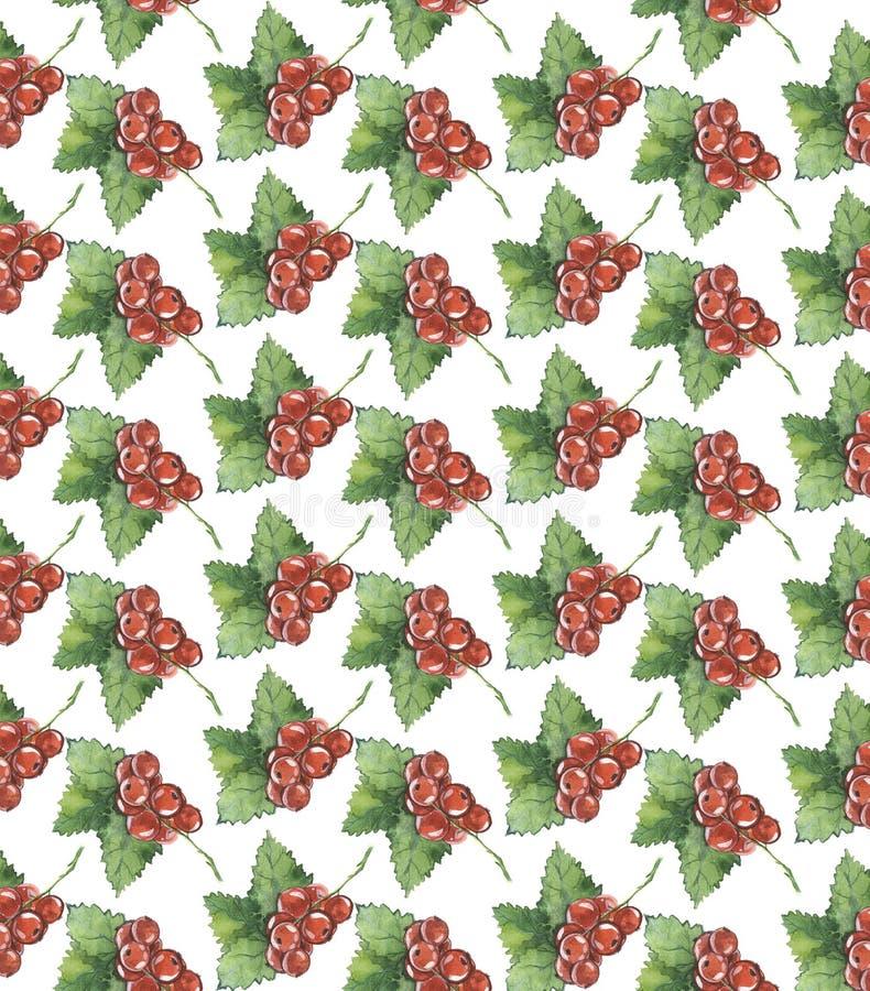 Naadloze textuur van waterverf Bessen Rode stroom stock afbeeldingen