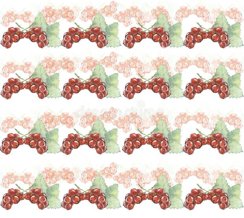 Naadloze textuur van waterverf Bessen Rode stroom stock foto