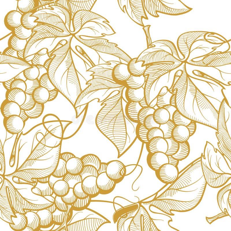 Naadloze textuur vectorgrafiek die bossen van druiven en wijnstokelementen afschilderen stock fotografie