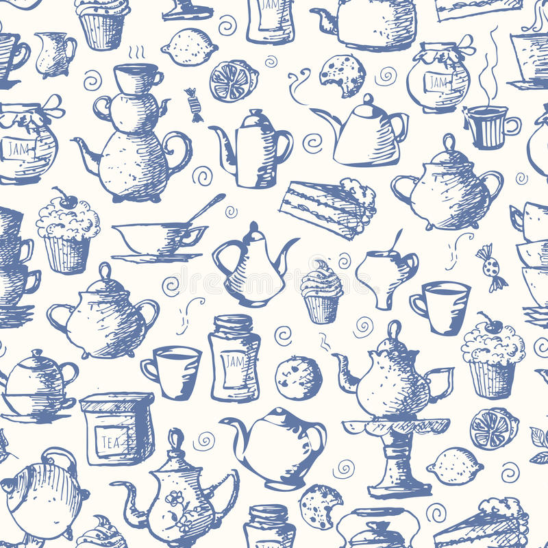 Naadloze theeachtergrond stock illustratie