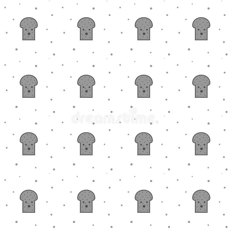 Naadloze Toost Gray Slice For Breakfast Pattern vector illustratie
