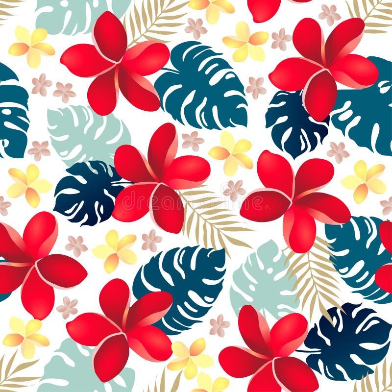 Naadloze tropische bloemenpatroon vectorillustratie stock illustratie