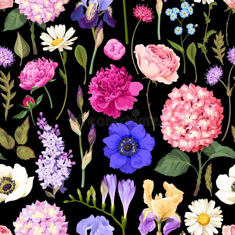 Naadloze tuinbloemen vector illustratie
