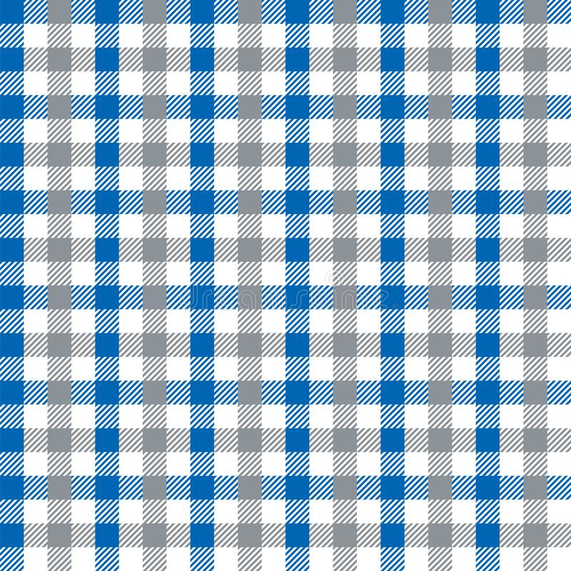 Naadloze Uitstekende Blauw en Grey Checkered Fabric Pattern Background-Textuur royalty-vrije illustratie