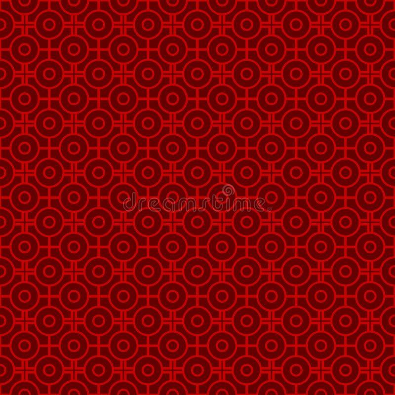 Naadloze uitstekende Chinese ronde en vierkante het patroonachtergrond van venstertracery stock illustratie