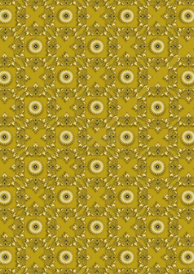 Naadloze uitstekende gouden bloemenpatroononâgele achtergrond vector illustratie