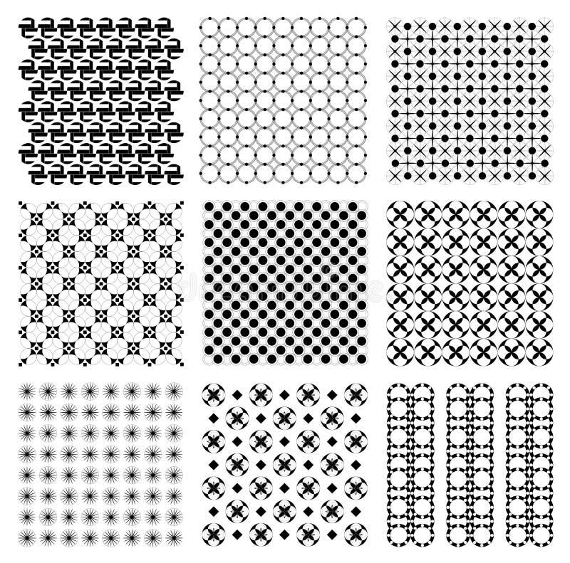 Naadloze uitstekende Japanse retro ronde de illustratie vectorreeks van het cirkelpatroon royalty-vrije stock afbeeldingen