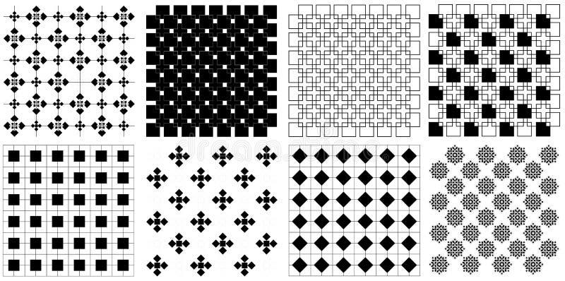 Naadloze uitstekende retro vierkante de illustratie vectorreeks van het regtanglepatroon royalty-vrije stock afbeelding
