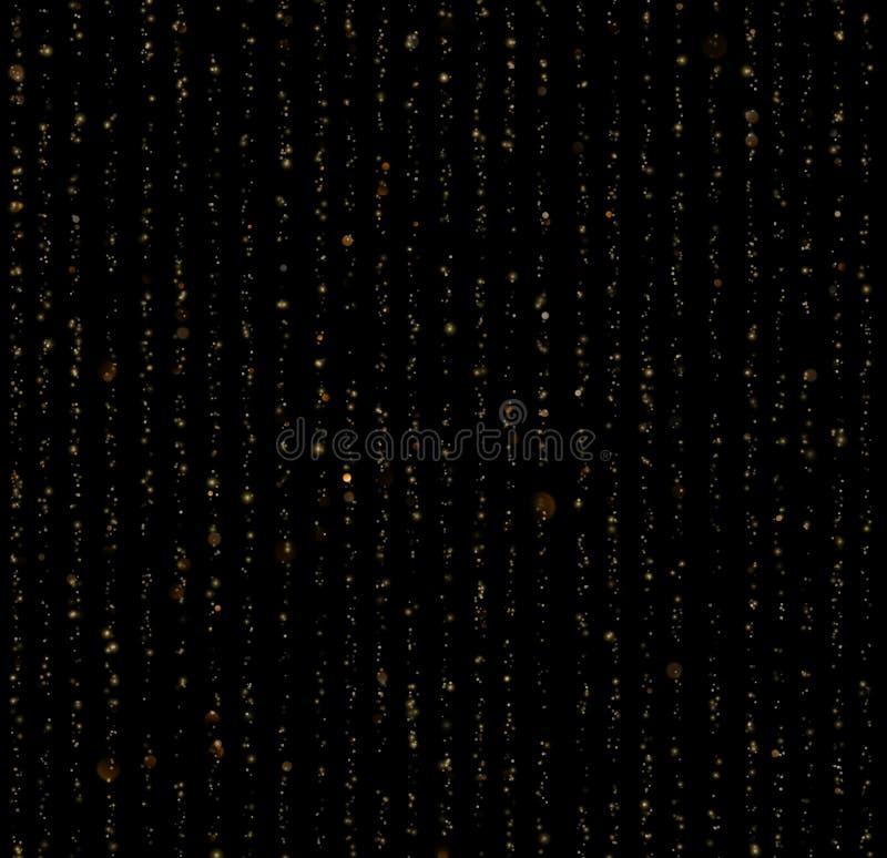 Naadloze unieke gouden regen bokeh op zwarte achtergrond Schitter draden van gordijnachtergrond De lichten van de vakantieslinger stock illustratie