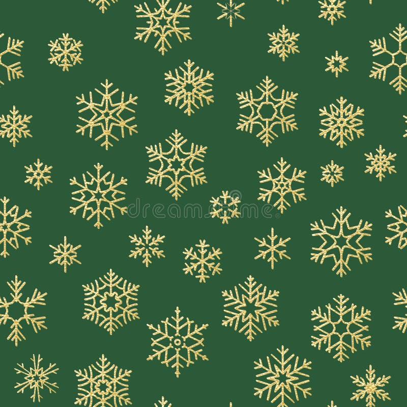 Naadloze vakantietextuur, Kerstmispatroon met gouden sneeuwvlokkendecoratie voor textiel, brochure, kaart Eps 10 royalty-vrije illustratie