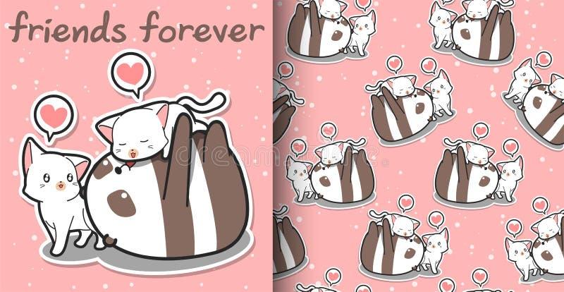 Naadloze van de kawaiipanda en kat beeldverhaalkarakters op roze patroon als achtergrond royalty-vrije illustratie