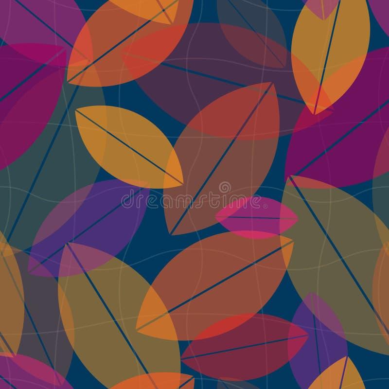 Naadloze van het bladerenpatroon vector als achtergrond stock illustratie