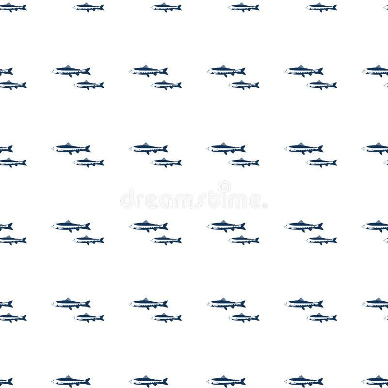 Naadloze van het de vissenbeeldverhaal van de patroonzalm de reis vectordieillustratie op witte achtergrond, overzees voedselelem vector illustratie