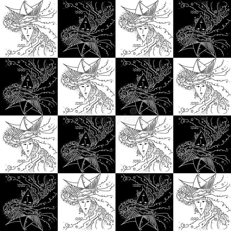 Naadloze van het tekenwaterman van de textuurdierenriem zwart-witte de tekeningsmeisjes met het overzees in haar haar en een hoed stock illustratie