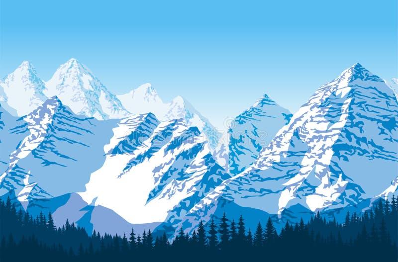 Naadloze vector blauwe mooie bergen met bospatroon stock illustratie