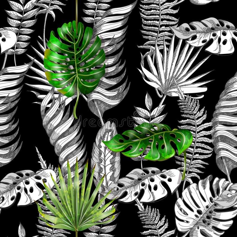 Naadloze vector bloemenpatroonachtergrond met zwart-witte tropische bladeren vector illustratie