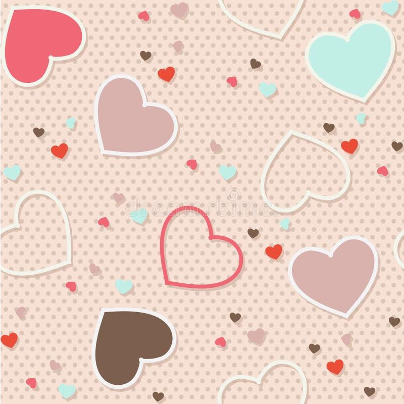 Naadloze vector de illustratiedruk patroon van het achtergrondvalentijnskaarthart op stof en plakboekdocument royalty-vrije illustratie