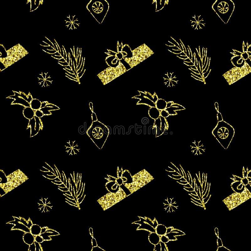 Naadloze vector gouden Kerstmis schittert textuur Tegelachtergrond met pijnboomboom, giftdoos, Kerstmisdecoratie, hulstbes stock illustratie