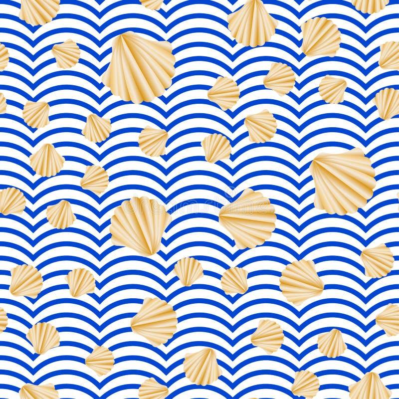 Naadloze vector met abstracte shell gouden textuur op blauwe en witte strepen Gouden uitstekende achtergrond royalty-vrije illustratie