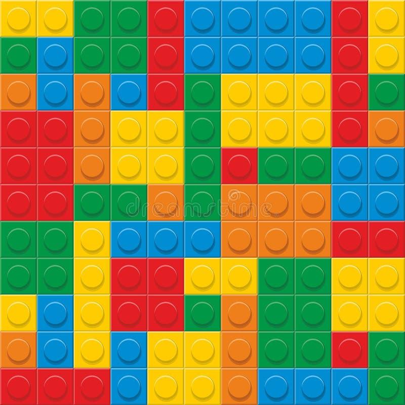 Naadloze vector Plastic bouwblokken vector illustratie