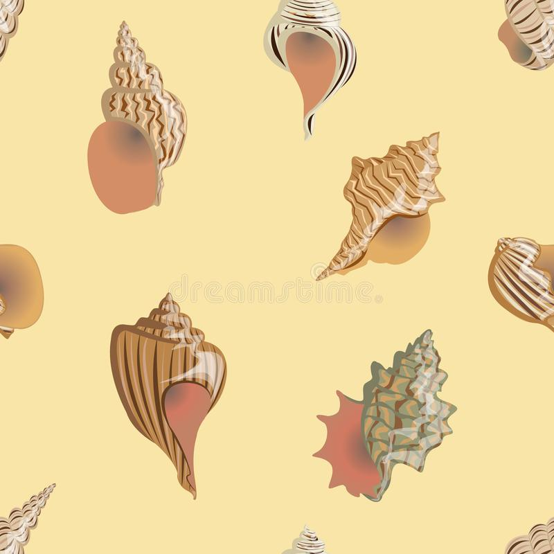 Naadloze vector van de patroon Overzeese en rivier cockleshells van verschillende types en vormen vector illustratie