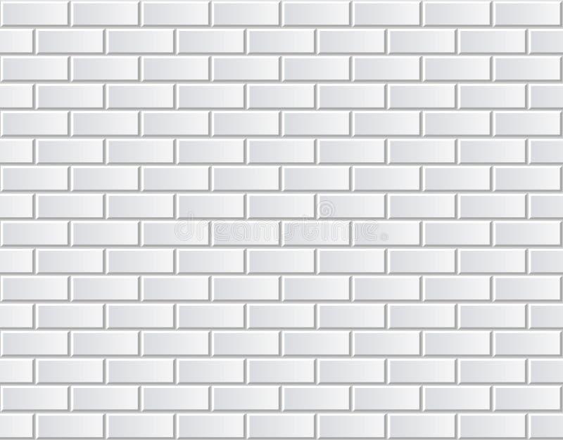 Naadloze vector witte bakstenen muur - achtergrondpatroon stock illustratie