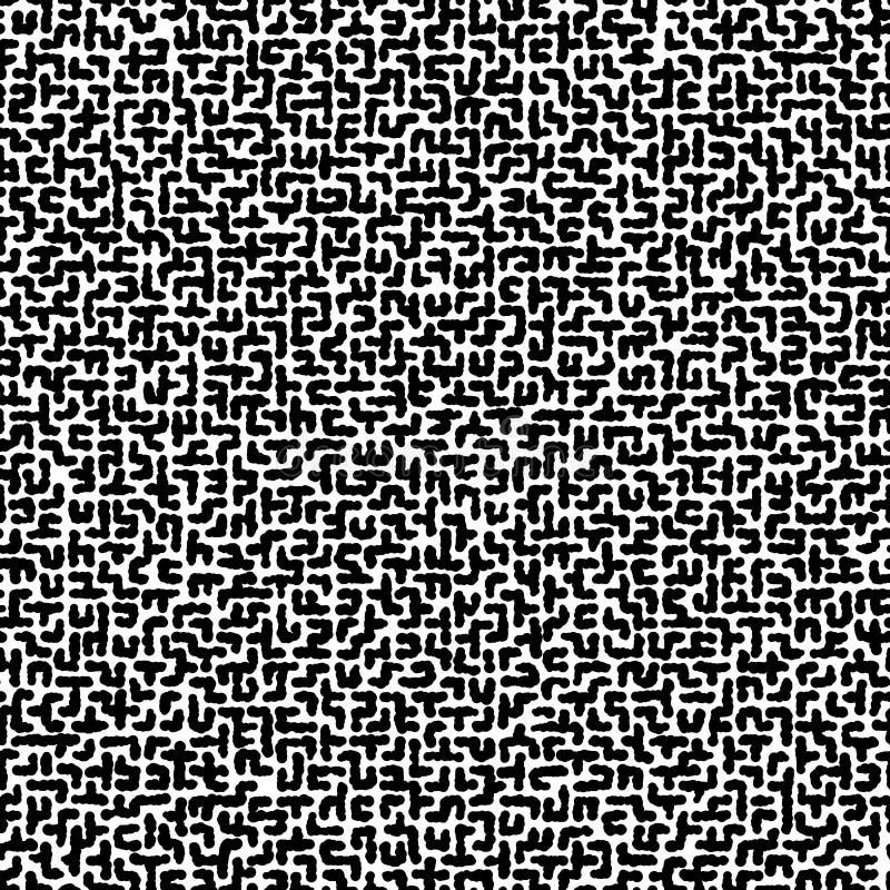 Naadloze vector zwart-witte textuur van ongelijk labyrint Zwart-wit hand-drawn patroon stock illustratie