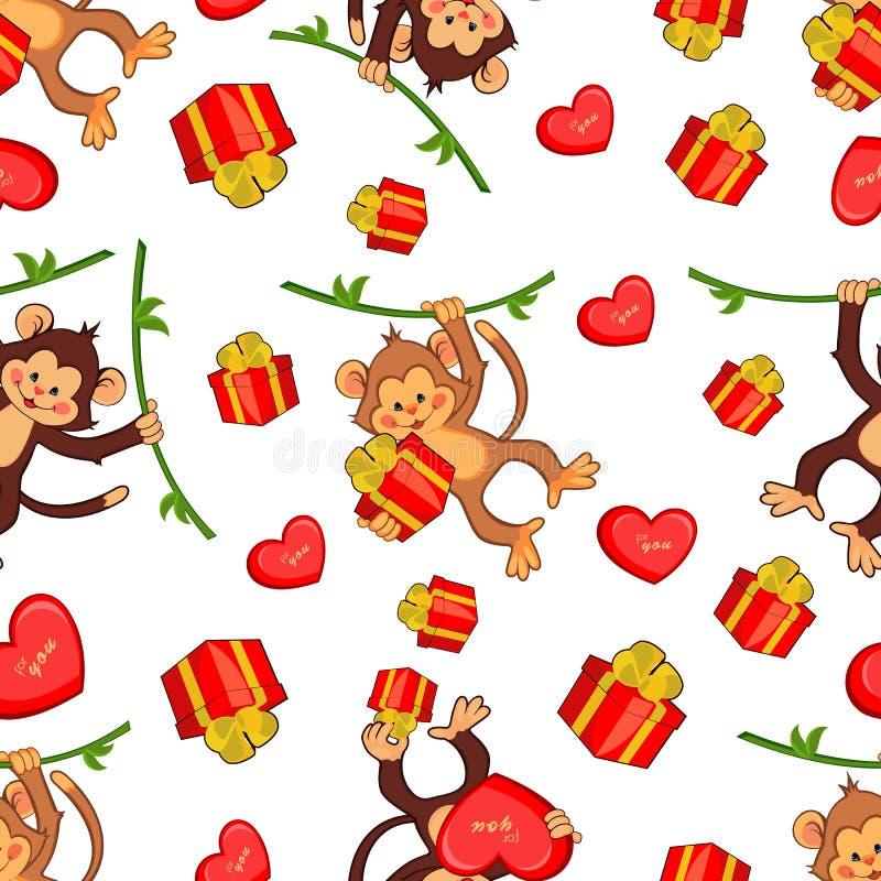 Naadloze vectorachtergrond met grappige apen met royalty-vrije illustratie
