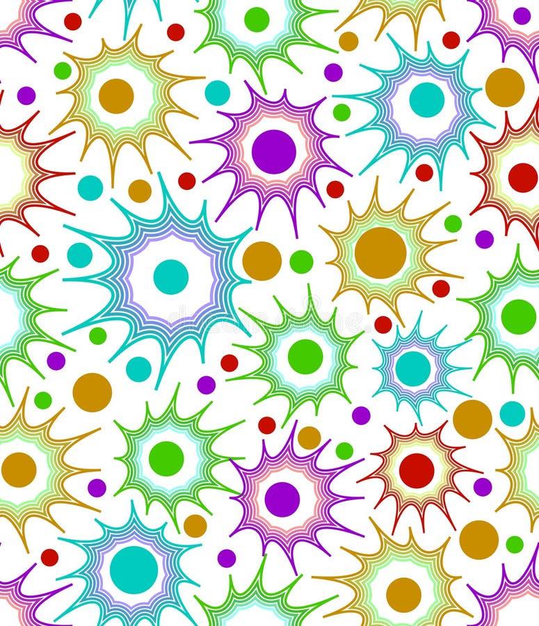 Naadloze vectorachtergrond met ongelijke stervormen in overzichtsontwerp met cirkelpunten binnen op wit gebied vector illustratie