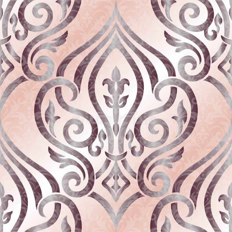 Naadloze vectorachtergrond Uitstekend siermalplaatje met patroon Islam, Arabische Indi?r, Het damast Wallpaper vector illustratie